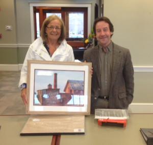 Deb Schradieck with Matt & her work,