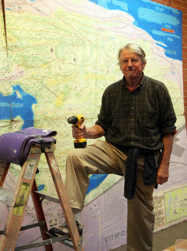 Shep Abbott and map of Dogtown in Matz Gallery 9883