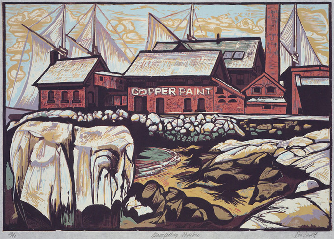 "Manufactory Shoreline - Reduction Woodcut, 2008- Edition 30 - 19.5 "" x 28 "" - Availability: Limited"